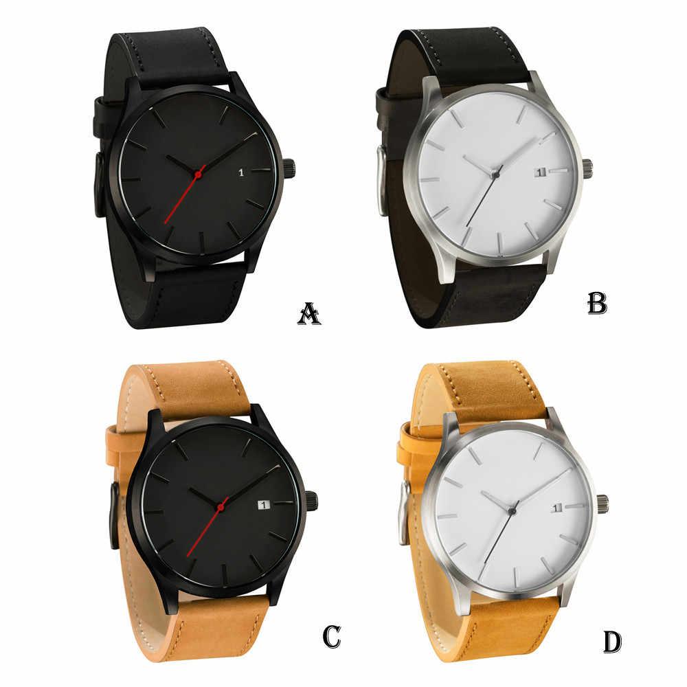 2018 nuevo reloj deportivo para hombre, calendario de cuero, reloj de pulsera de cuarzo, reloj militar, reloj de pulsera de cuero para hombre