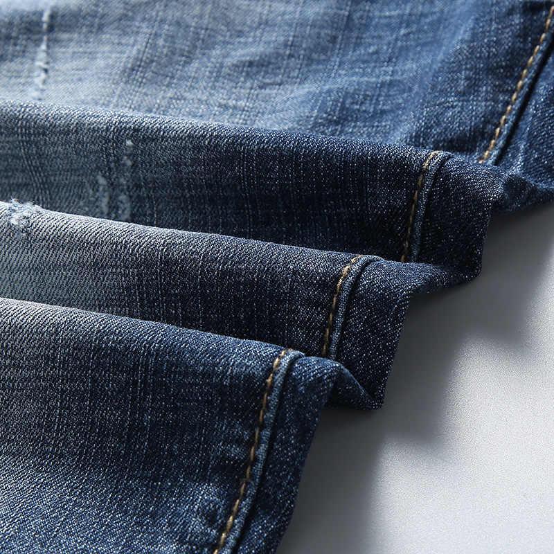 شورت دينم رجالي صيفي جديد موضة 2019 ضيق من القطن المطاطي بلون أزرق جينز ممزق ملابس ماركة للرجال