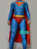 Free Shipping 3D Printing Superman Costume Lycra Spandex Super man Cosplay Suit Halloween Zentai Catsuit With Red Cape
