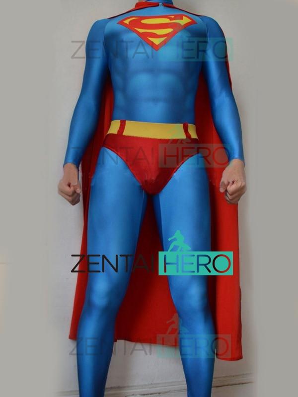 Gratis Verzending 3d Printing Superman Kostuum Lycra Spandex Super-man Cosplay Pak Halloween Zentai Catsuit Met Rode Cape