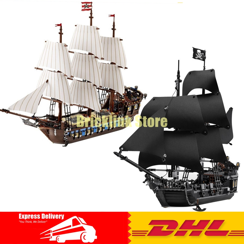 LEPIN 16006 The Black Pearl+22001 Pirate Ship Imperial Warships Pirates of the Caribbean Building Blocks Set Clone 4184 10210 in stock new lepin 22001 pirate ship imperial warships model building kits block briks toys gift 1717pcs compatible10210