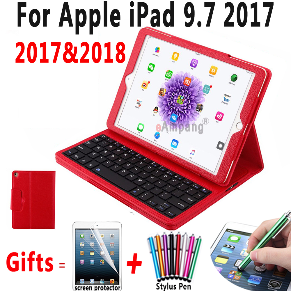 Blueteeth Keyboard Case For Apple New iPad 9.7 2017 Leather Folio Stand Bluetooth Keyboard Cover for iPad 9.7 2018 A1893 Case