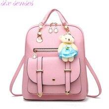 Six senses Женщины Рюкзак случайные сумки на ремне, Девушки Рюкзаки С Медведь Путешествия bagpack леди рюкзак Mochila XD4041