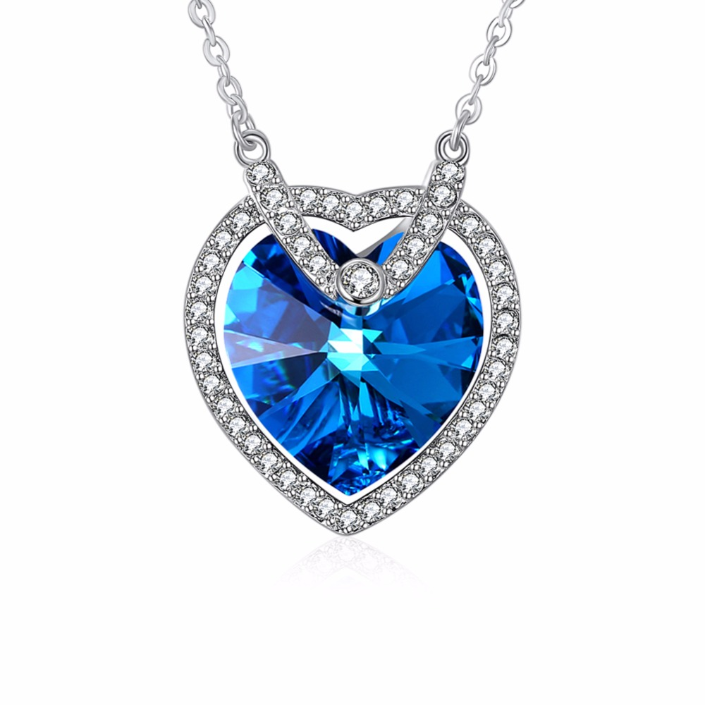 Fine Jewelry Women Necklace Made with Austrian crystal Blue Heart Pendant Necklace Jewelry 925 Silver Party Collares N267. yoursfs love you forever white gold plated heart in circle pendant necklace with austrian crystal open heart silver necklace wo