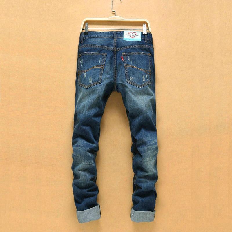 Korean Version Ripped Jeans Men Hip Hop Hole Cowboy Mens denim Pants Straight Jeans Skinny Men