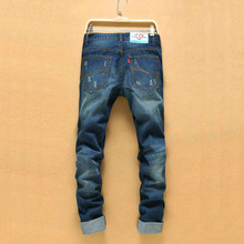 Корейская Версия Рваные Джинсы Мужчины Hip Hop Отверстие Ковбой Мужские джинсовые Брюки Прямые Джинсы Тощий Моды для Мужчин Рваные Джинсы Мужчины