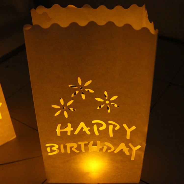 20pcs Lot HAPPY BIRTHDAY Candle Bag Tea Light Holders Paper Bags Luminaries Lantern For Birthday Party Decoration Free Shipping In Lanterns From Home