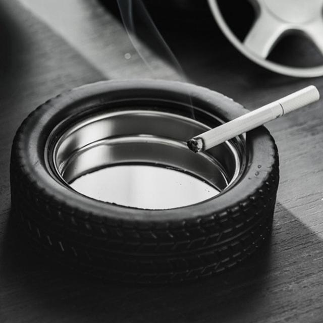 45# Creative Stainless Steel Car Tire Shape Tyre Cigarette Cigar Ashtray Home Office Hotel Decor