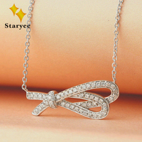 Trendy Bowknot Link Chain Pendant Neklaces For Women Real 18K White Gold Simulated Diamonds Bow Tie