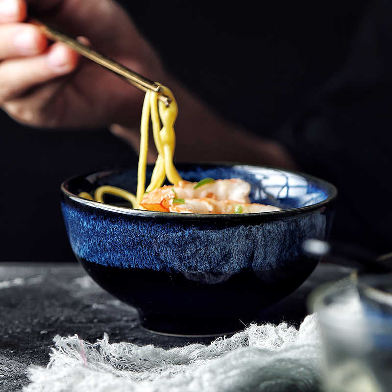 Japanse Kilnglazed Keramische Noedelkom Rijstkom Familie Restaurant Ramen Kom Grote Soepkom Fruitsalade Instant Noodle
