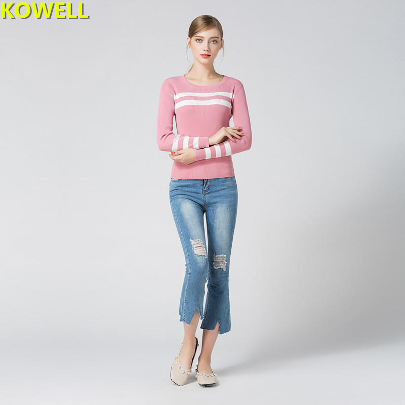 Womens Clothing Jumper Sweater Knitted Pullovers Hot Sale 2018 Spring Summer Full Sleeve O-Neck Striped Slim Contrast Color Tops