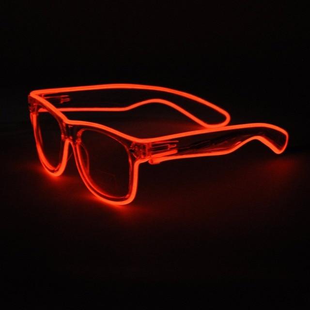 478c4b8b7 100 unidades/lotes Acender LED Óculos Rave Sunglasses white Frame Fio EL  Piscando Colorido Boate