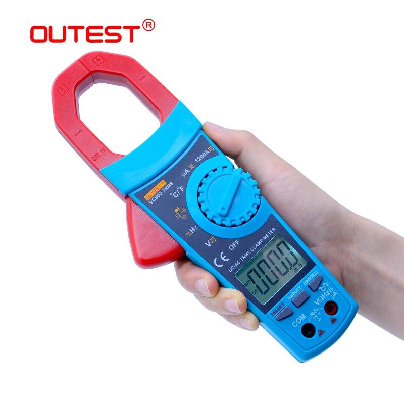 OUTEST VC903 True RMS AC/DC clamp meter digital auto range ac dc tensão resistência atual capacitância ciclo de trabalho 1% ~ 99%