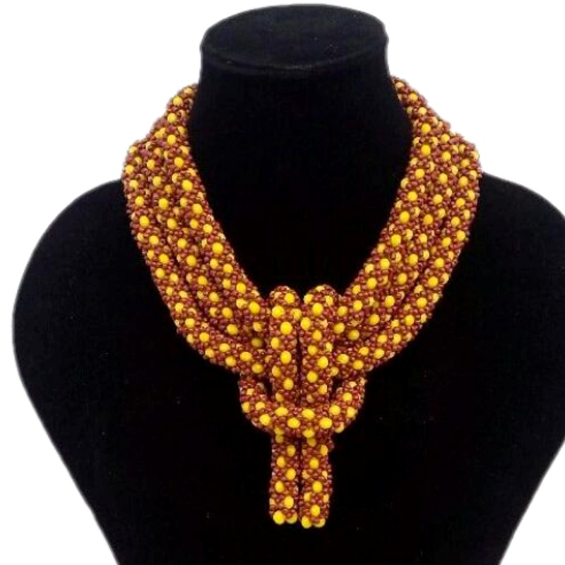 African Beads Wedding Jewellery Sets For Women Yellow and Coffee Dubai Necklace Jewelry Set For Nigerian Free Shipping 2018 New stonefans rosered dubai jewelry sets for women in nigerian wedding set prom necklace rhinestone necklace and earing sets wedding