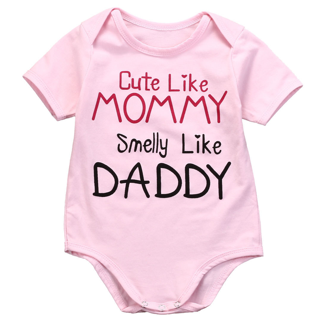 Cotton Newborn Baby Girls Pink   Romper   Jumpsuit Outfits Clothes 0-24M Short sleeve girl clothing