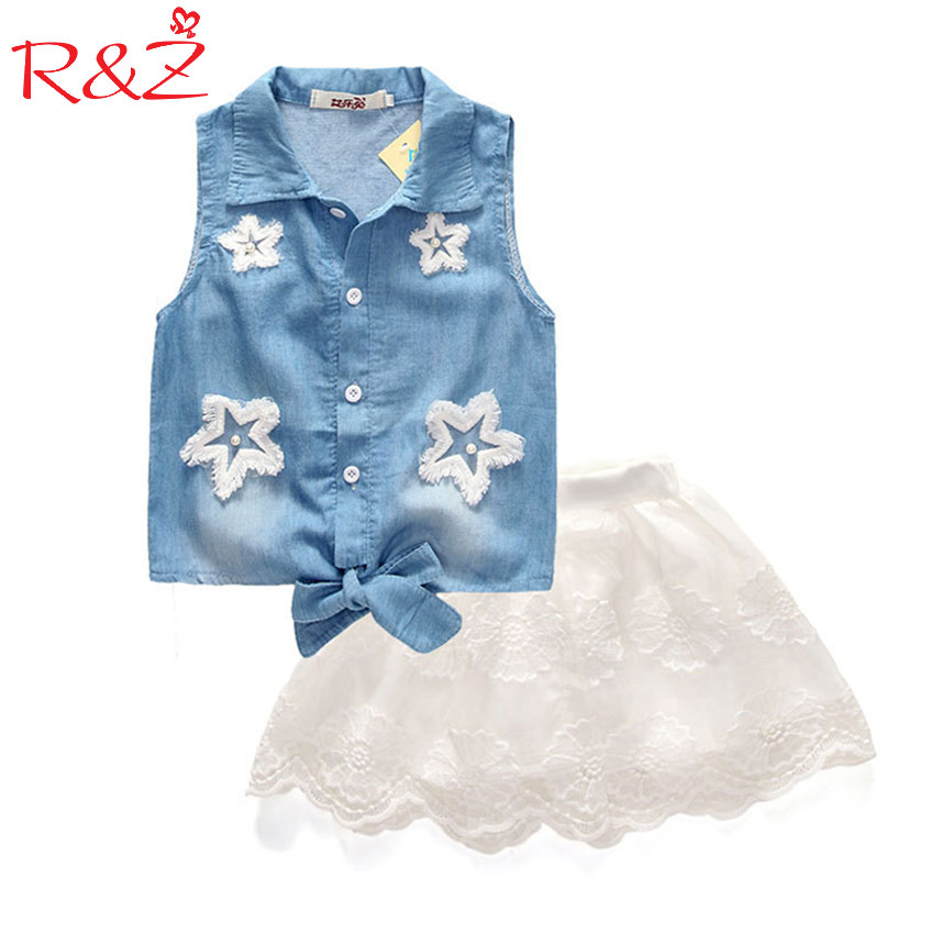 R&Z 2017 Hot Sale Girls Clothes Suits Lace Cowboy Jacket Tops + Skirt 2 Pieces Lace Star Fashion Denim Suit Kids Princess Set