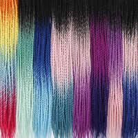 Cheveux tressés ombre cheveux arc-en-ciel torsion sénégalaise 24 'extensions de cheveux synthétiques crochet torsion tresses de cheveux