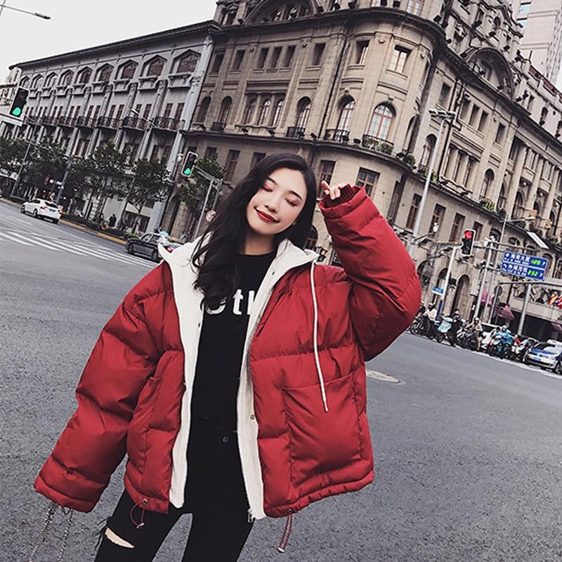Coréen Pain Vêtements Style Manteau Étudiant Marée Service Hiver Bf Femmes Occasionnel X353 Nouveau 2018 Red Harajuku Épais Coton x8tgqwgPR