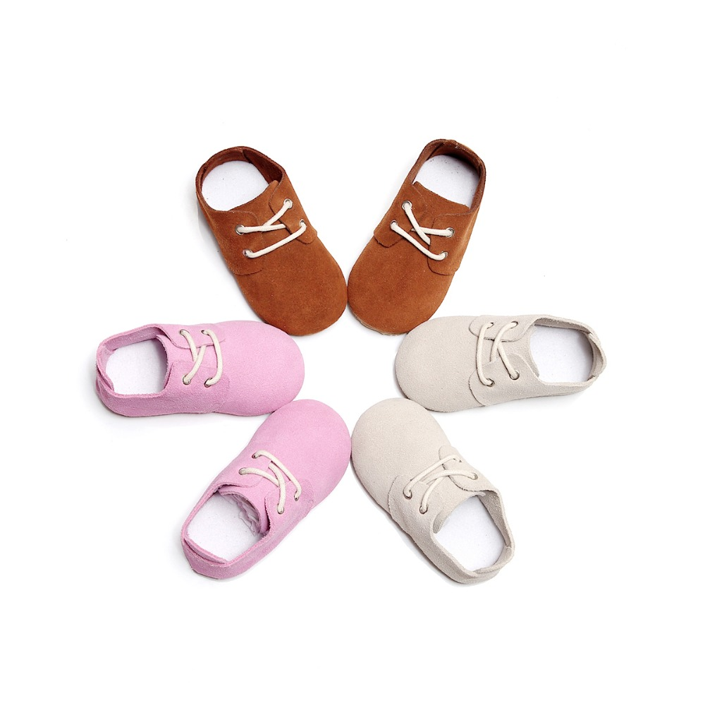 2019 New Arrival Toddler Shoes Baby Shoes Hard Sole Baby Girls Boys Shoes Lace Up Plain Solid Cow Suede Oxford Shoes 0-32M