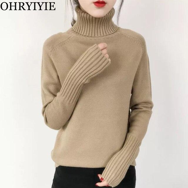 OHRYIYIE Women Turtleneck Winter Sweater 2019 New Khaki Beige Long Sleeve  Knitted Pullovers Female Jumper Tricot Tops Pull Femme a0018b4d0