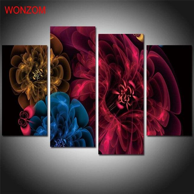 flores de colores de pintura de la lona sin marco pintura abstracta sobre lienzo cuadros abstractos