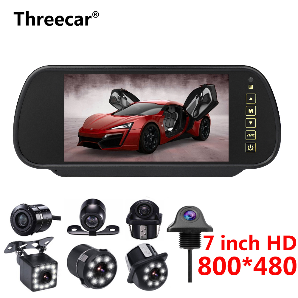 Full Touch Screen 7'' LCD Rearview Mirror Monitor Display Reverse Camera Parking System High Resolution 800*480 Rearview Mirror