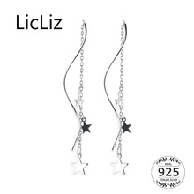 LicLiz New 2019 S925 Sterling Silver White&Black Stars Drop Earring for Women White Gold Long Link Chain Jewelry No Posts LE0562