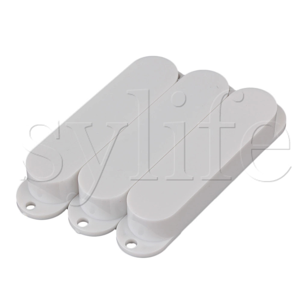 3pcs Guitar Parts White Plastic Smooth Closed Shell Single Coil Pickup Covers
