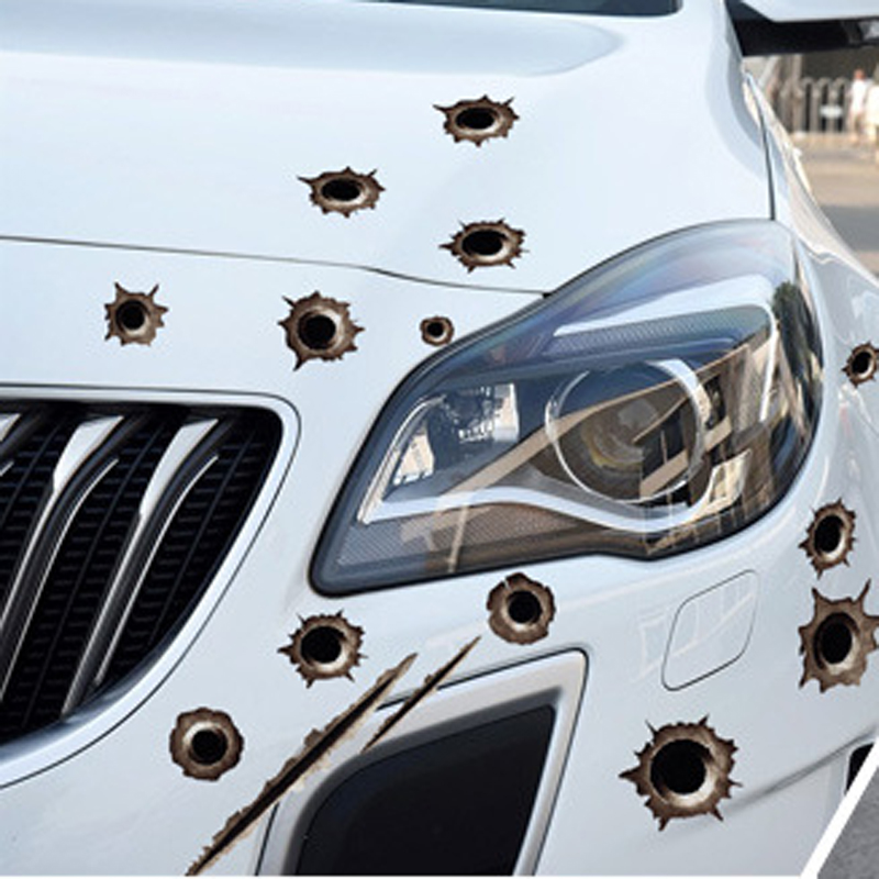 car Bullet hole body decoration <font><b>sticker</b></font> for smart for two peugeot 308 grande punto bmw f20 alfa romeo 147 <font><b>golf</b></font> <font><b>4</b></font> fiat bravo alfa image