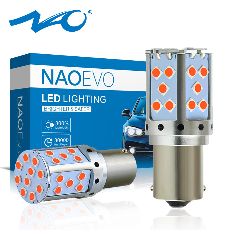 NAO Signal-Lamp P21W Flash 3030 Smd Amber No-Hyper Led-Light 7440 BAU15S Auto-Turn 1156