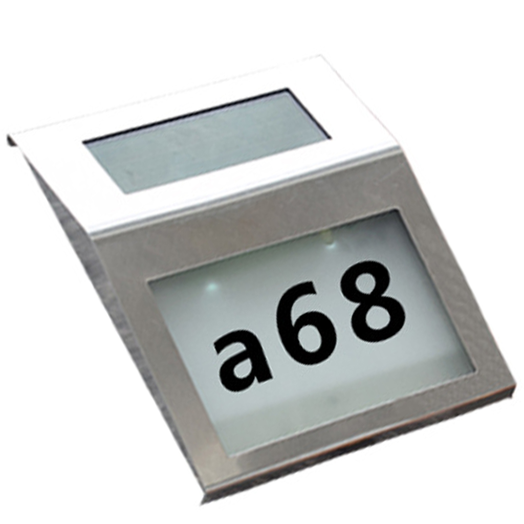 2 LED Solar Address Sign House Number Stainless Steel Illumination Street Solar Powered Wall Lamp Alphanumeric Number Light
