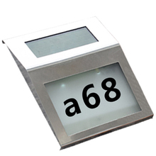 2 LED Solar Address Sign House Number Stainless Steel Illumination Street Solar Powered Wall Lamp Alphanumeric Number Light(China)