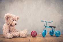 Laeacco Baby Toys Teddy Bear Ball Bicycle Wall Wooden Floor Birthday Party Photo Backdrops Photography Backgrounds Studio