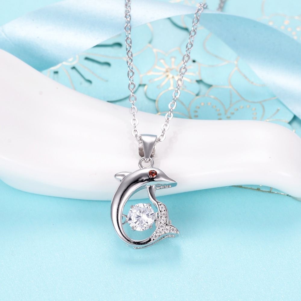 Bella Fashion 925 Sterling Silver Vivid Dolphin Bridal Necklace Cubic Zircon Animal Pendant Necklace For Party Jewelry Gift bella fashion 925 sterling silver lucky horseshoe bridal necklace cubic zircon pendant chain necklace for wedding party jewelry