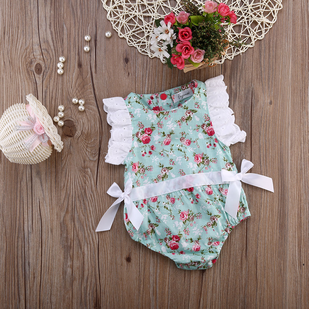 db8f2ed1db55 Cute Newborn Toddler Baby Girl Clothing Flower Bow Cute Clothes Lace Floral  Bodysuit Outfits Summer 0 24M-in Bodysuits from Mother   Kids on  Aliexpress.com ...