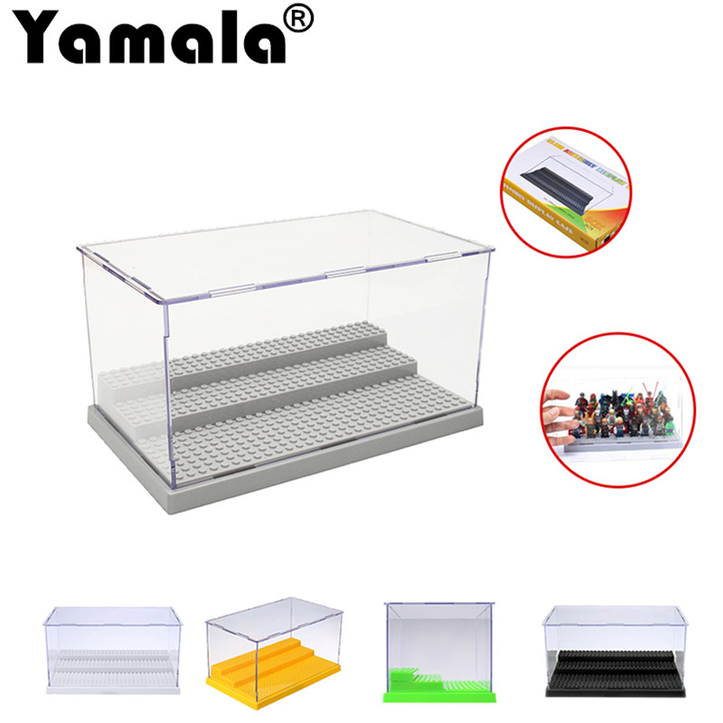 [Yamala] Display Case/Box Dustproof ShowCase Gray Base For  Blocks Acrylic Plastic Building Block Display Box Gifts For Boys plastic original building blocks minifigures show cases ladder collection parts box acrylic display case for action figures p150