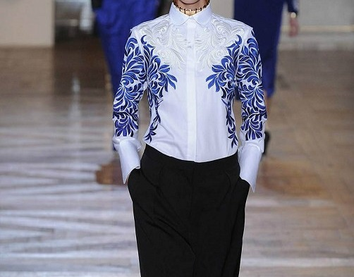 XXL!New   Blouse     Shirt   2019 Spring Women Turn-down Collar Blue Floral Embroidery Long Sleeve White   Blouse   Plus Size   Shirt   Blusa