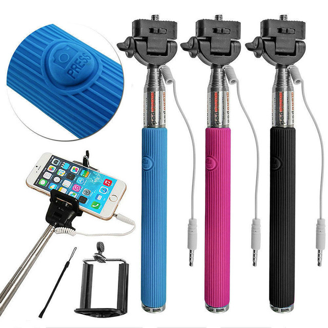 Extendable Folding Wired Selfie Stick Monopod For Samsung GalaxY s5 Perche Selfies Selfiepod for Iphone 5 Xiaomi Blackberry