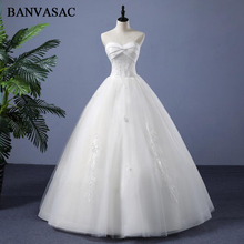 BANVASAC Real Photos Ball Gown Lace Appliques Strapless Wedding Dresses 2018 Pleat Embroidery Plus Size Bridal Gowns