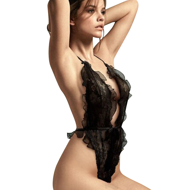 2018 Sexy lingerie lace perspective teddy sexy costumes hot women Temptation Exotic underwear sleepwear black intimate slips