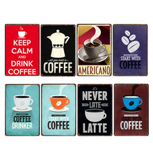 Coffee Sign Vintage Wall Decor Plaque Metal retro Poster Decorative Coffee Plates Tin Cafe Decoration 20x30 cm(China)