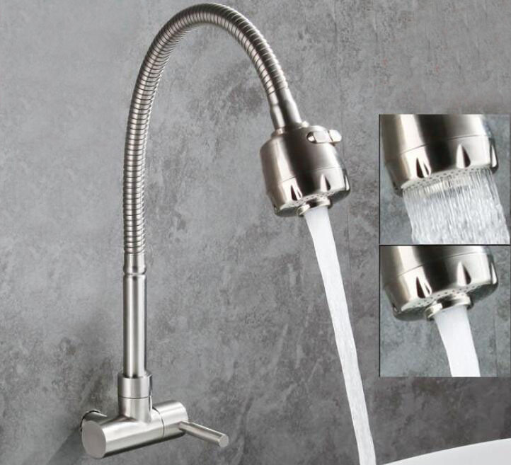 Free shipping SUS304 Stainless Steel brushed nickel Wall Mounted kitchen vegetables basin sink faucet Fold faucet