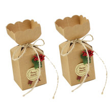 50pcs Small Party Favors Candy Box Chocolate Cookies Paper Gift Bags for Wedding Christmas Birthday Home Decoration Packaging(China)