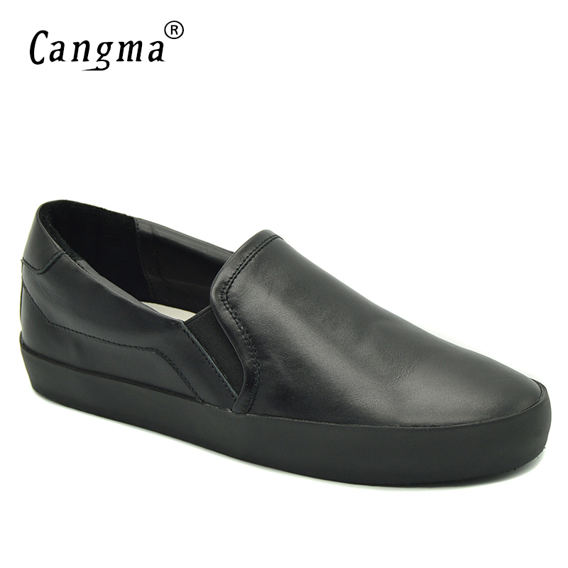 CANGMA Italy Designer Casual Shoes Loafer Woman Slip On Black Footwear Female Genuine Leather Sneakers Leisure Shoes For WomenCANGMA Italy Designer Casual Shoes Loafer Woman Slip On Black Footwear Female Genuine Leather Sneakers Leisure Shoes For Women