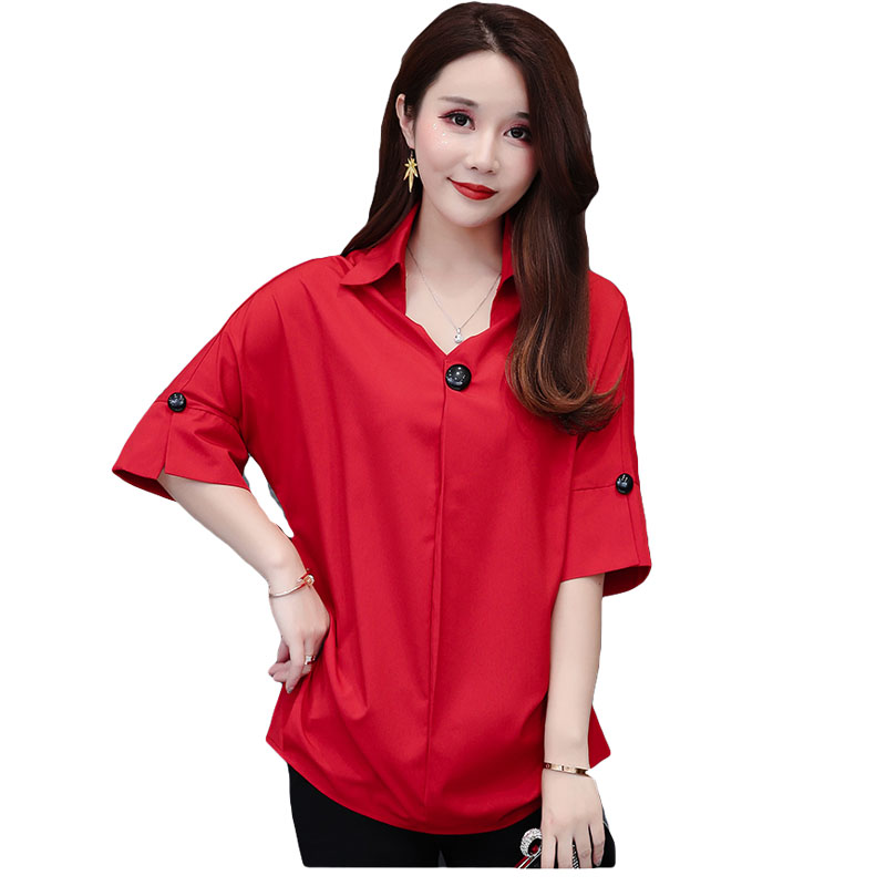 Plus Size Women 39 s Chiffon Shirt Summer 2019 New Fashion Office Ladies White Shirt V neck Batwing Short sleeve Loose Tops Female in Blouses amp Shirts from Women 39 s Clothing