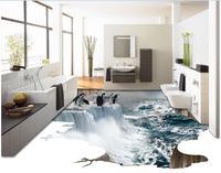 רצפה עמיד למים שינה תמונה מותאם אישית ריצוף pvc 3d פינגווינים מפל קרח 3d ציור קיר ציורי קיר טפט לסלון