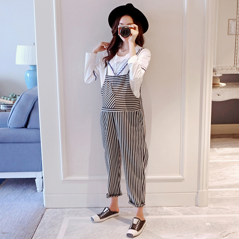 2018 spring stripped denim maternity jeans overalls jumpsuite casual pregnancy trousers pregnant women cotton oversize bib pants spring denim jeans for women slim high elastic waist skinny pencil pants jeans trousers bleached big size female washed casual