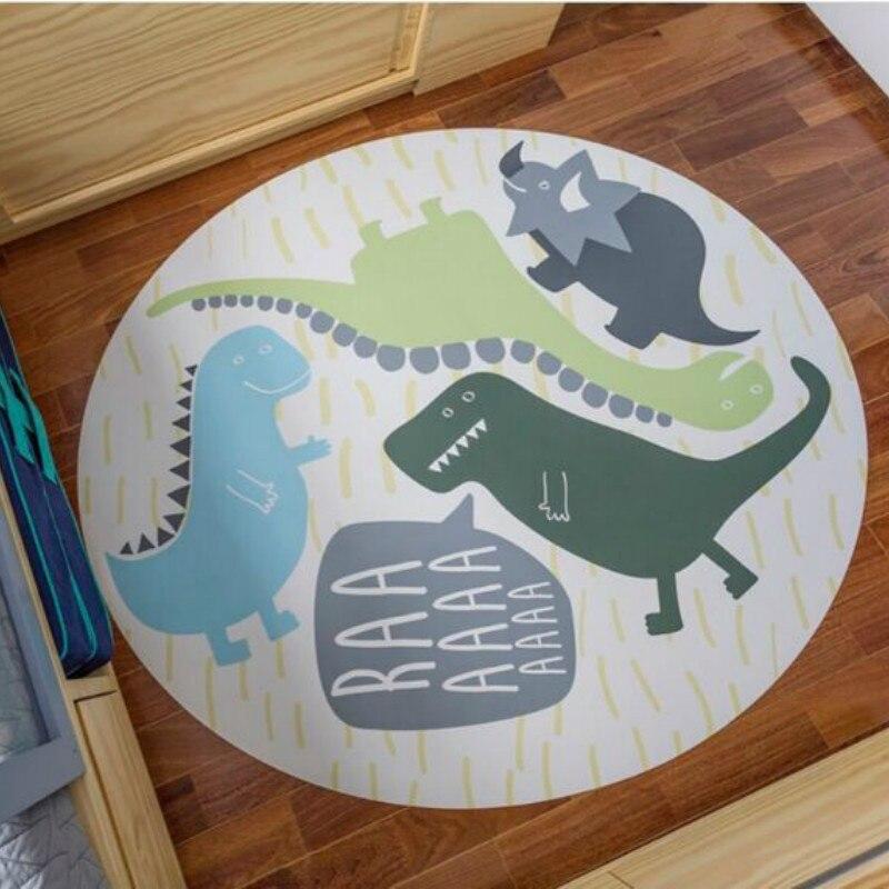 Bande dessinée dinosaure tapis rond chambre enfants salon tapis décoratifs bébé ramper tapis tapis pour salon tentes auvent