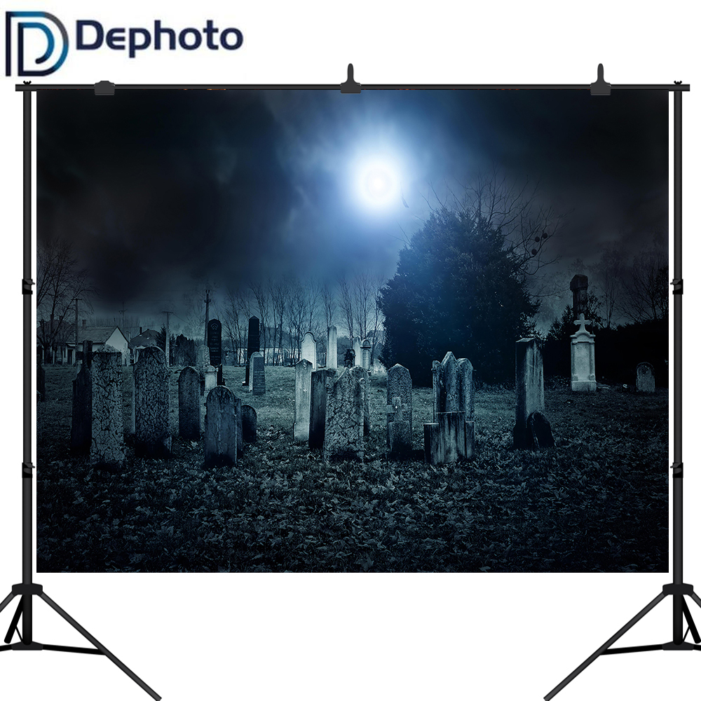 Dephoto Creepy Cemetery Background Moonlight Scary Gravestone Halloween Party Photography Backdrops Photo Studio Props