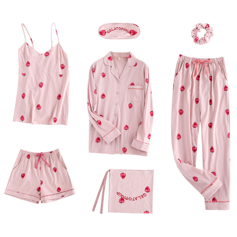 Strawberry seven piece pajamas female cotton long sleeved cardigan Korean version cute sexy spring summer home suit set